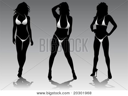 Vector drawing slim and beautiful girls in bikini
