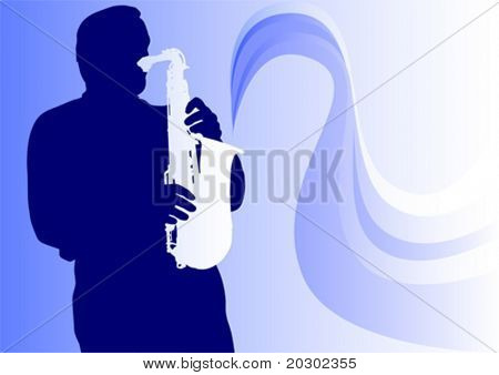 Vector graphic saxophonist in concert. Silhouette on blue background