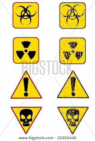 graphic sign warning of radiation. Prohibitory sign