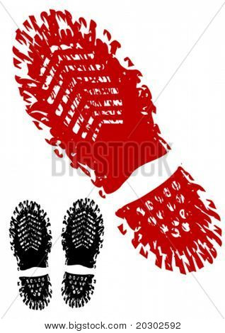 Vector drawing trace of the shoe. Silhouette on white background