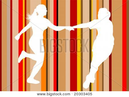 Vector drawing running athletes. Transfer relay sticks