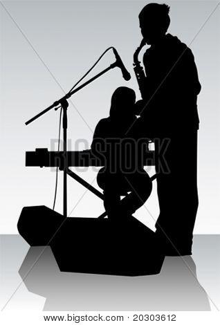 Vector dibujo Orquesta de jazz de la música. Artistas en escena