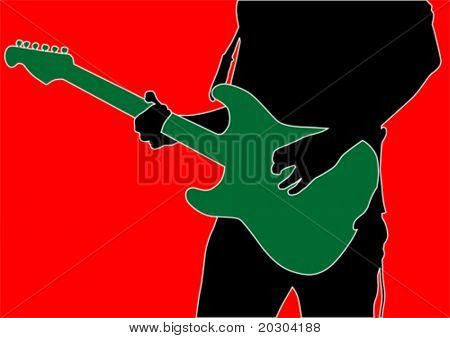 Vector drawing man with guitar on red background