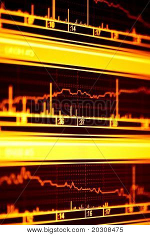 Stock index on the lcd monitor.