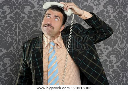 Nerd scared expression businessman telephone call mustache retro