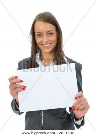 Business Woman Keeps Sheet