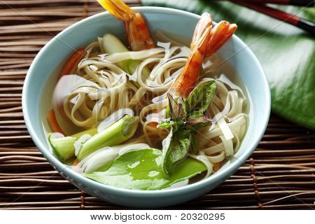 noodle soup with shrimps