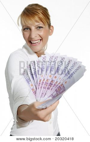 young smiling female with a bunch of 500 euro notes
