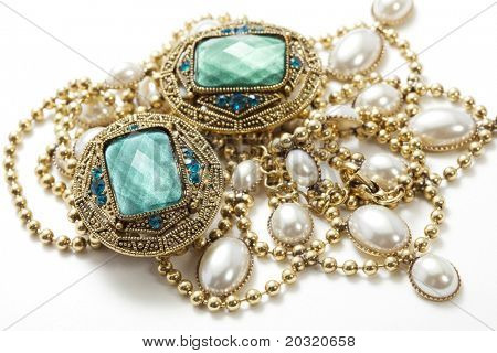 closeup of glamorous vintage jewelry