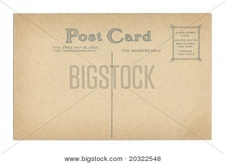 Back of vintage postcard isolated on a white background.