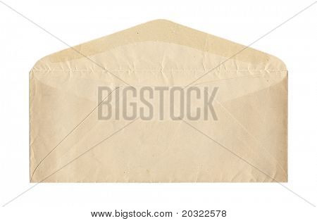 Back of old unsealed envelope isolated on a white background.