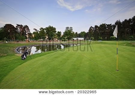 Golf Course With White Bag Ang Flag