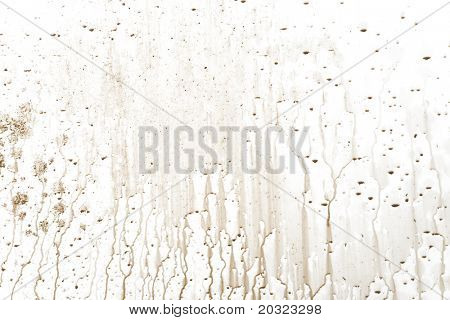 Muddy water drip patterns on a white background