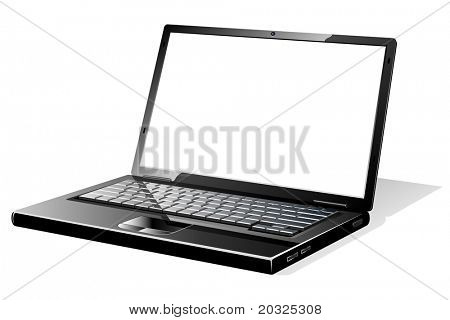 Modern black opened laptop with blank white screen.