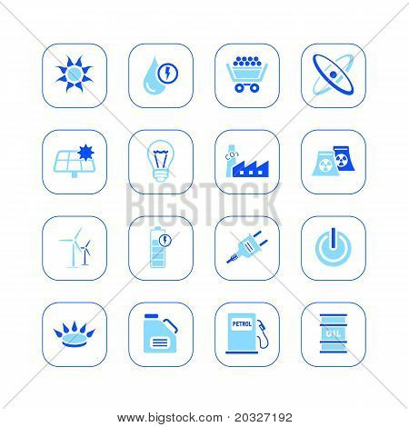Energy icons - blue series