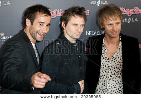 HOLLYWOOD, CA. - NOV 21: The band Muse arrives at the 2010 American Music Awards Rolling Stone Magazine VIP After Party at Rolling Stone Restaurant & Lounge on November 21, 2010 in Hollywood.