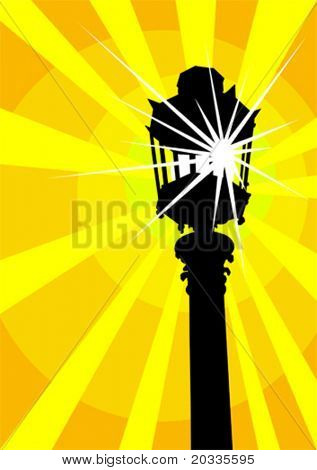 Vector drawing street lights and rays