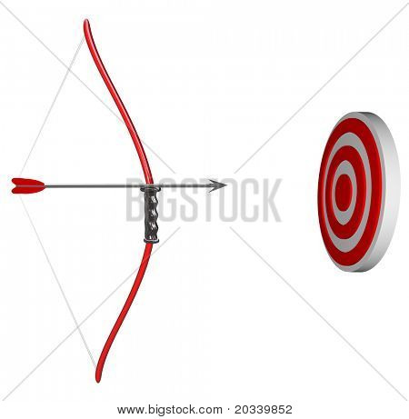 A bow and arrow is held aiming at a target bulls-eye, representing concentration as you focus on succeeding in hitting your goal