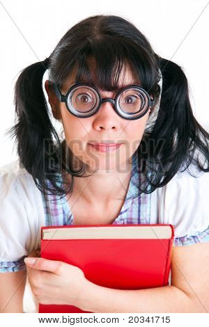 Nerd Student Girl on a white background