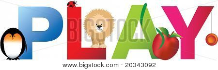 The word play made up from alphabet cartoon letters with matching animals and objects