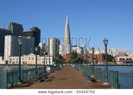 Embarcadero and Transamerica building seen from Pier 7, San Francisco.