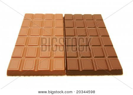 Dark and Milk chocolate on pure white background