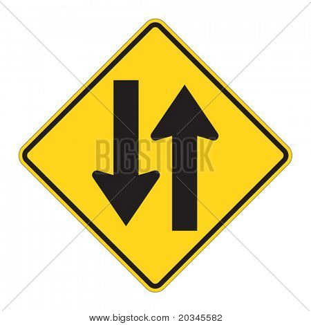 Two Way warning sign on white