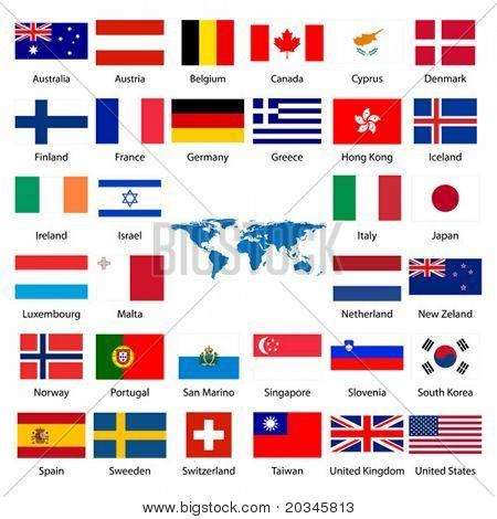 Detailed industrialized country flags and world map manually traced detailed industrialized country flags and world map manually traced from public domain map poster gumiabroncs Choice Image