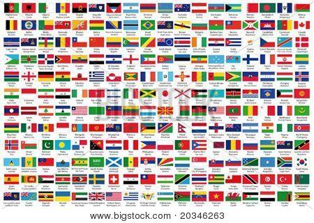Постер, плакат: 216 Официальные флаги мира в алфавитном порядке с официальное название страны и столицы verif, холст на подрамнике