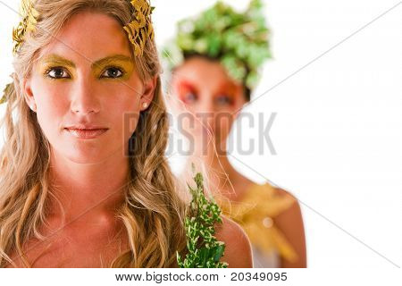 Portrait of a beautiful Greek goddesses - isolated over white