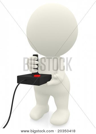 3D man playing video games with a joystick - isolated over white