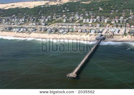 Aerial View Of A Peer On The Outerbanks North Carolina