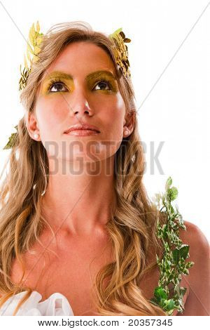 Portrait of a beautiful Greek goddess - isolated over white