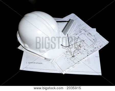 Construction Helmet, Blueprint & Utensils