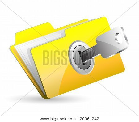 computer folder with key