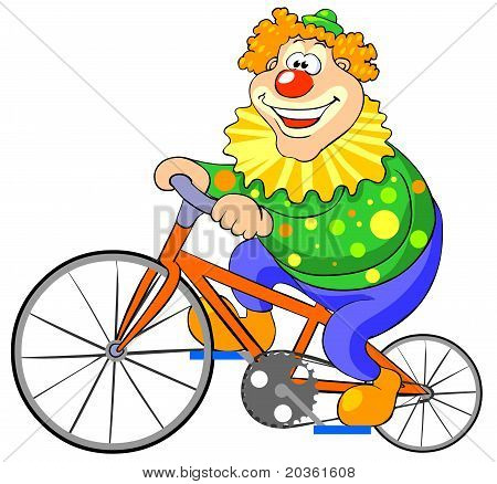 Happy clown riding on a bike.