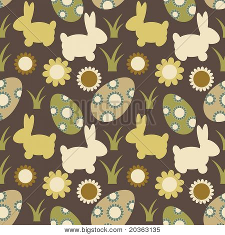 Seamless Easter pattern with eggs, bunnies and flowers