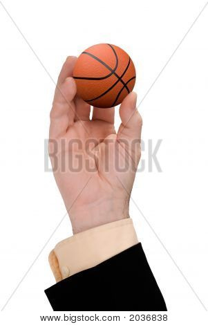 Businessman Hand Holding A Basketball