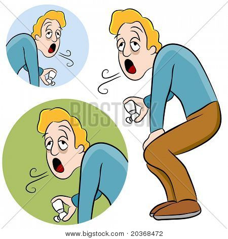 An image of a man with asthma holding an inhaler.