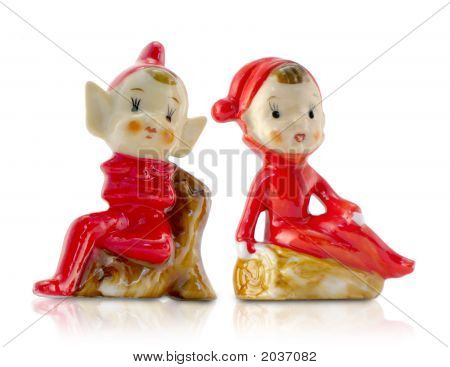 Vintage Porcelain Christmas Elves