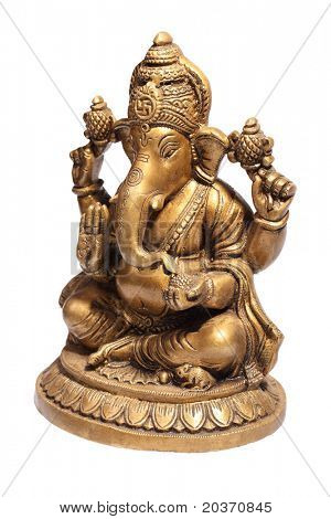 Hindu God Ganesh isolated on white with clipping path