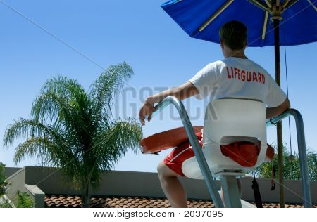 Lifeguard Overlooking Swimming Pool
