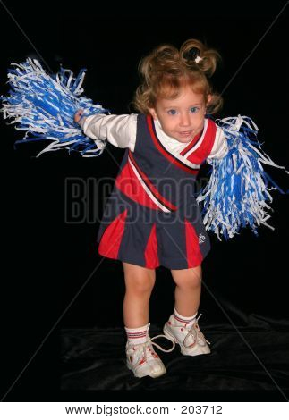 Little Cheerleader Cheering Over Black