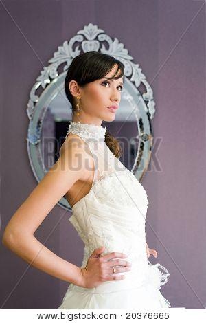 bride at the wedding salon