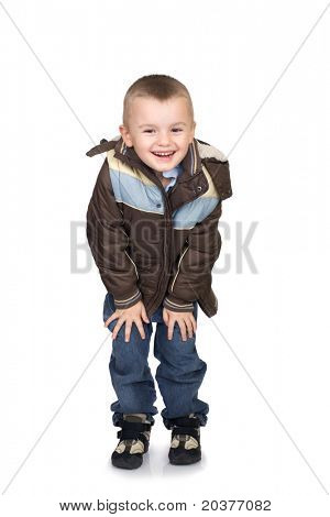 preschool boy posing in winter clothes