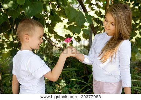 preschool boy is giving a rose flower to his girlfriend
