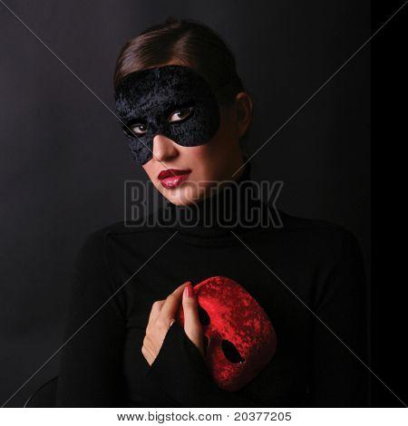 beautiful woman wearing mask