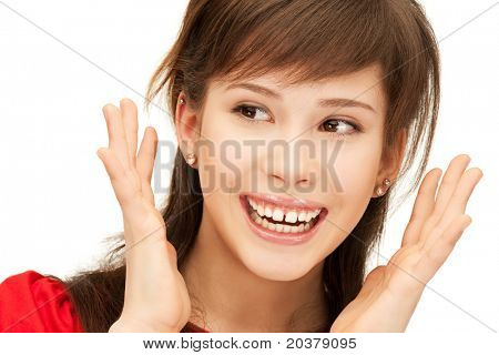 bright picture of happy teenage girl with expression of surprise