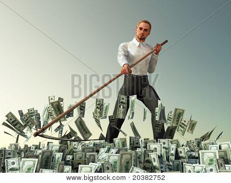 businessman mowing scythe money