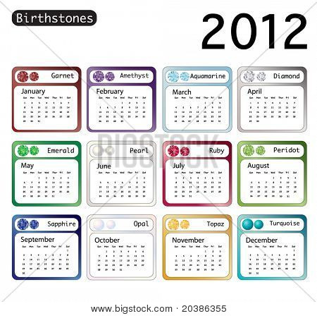A 2012 calendar showing birthstones for each month. EPS10 vector format.